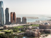 Part of Abu Dhabi, UAE with surrounding area viewed from the helicopter. Many details are visible in the image.